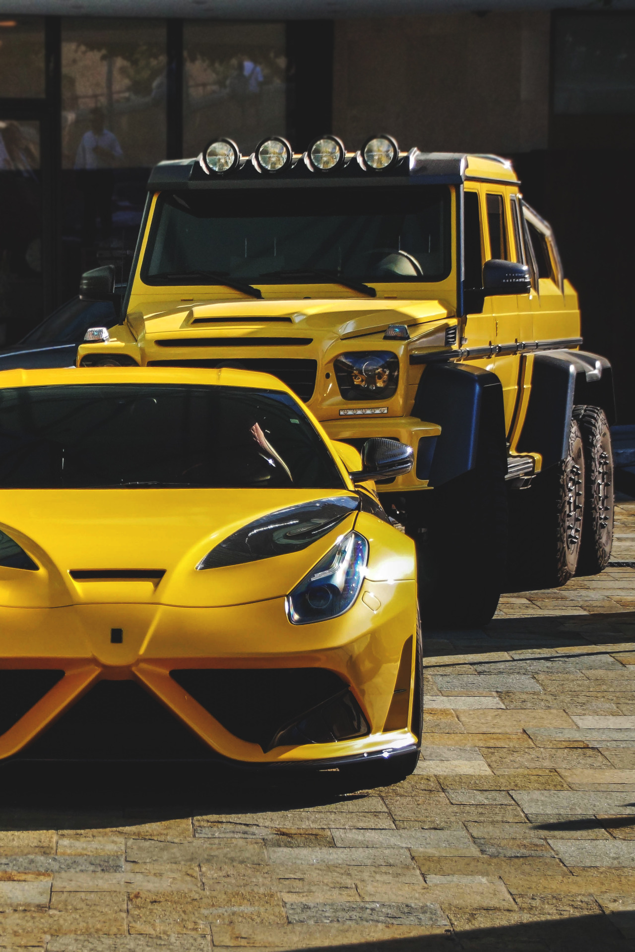 ferrari f12 berlinetta yellow mercedes tuning cars