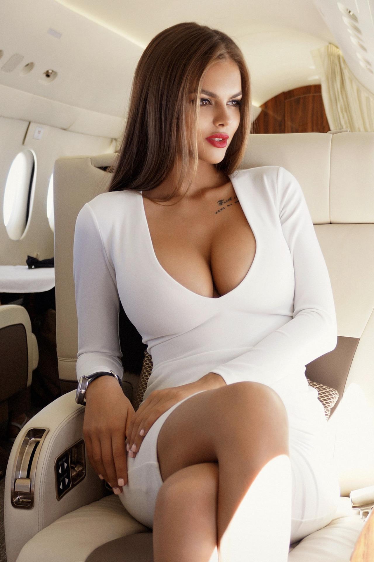 girl viki odintcova hot white dress plane 1280x1920