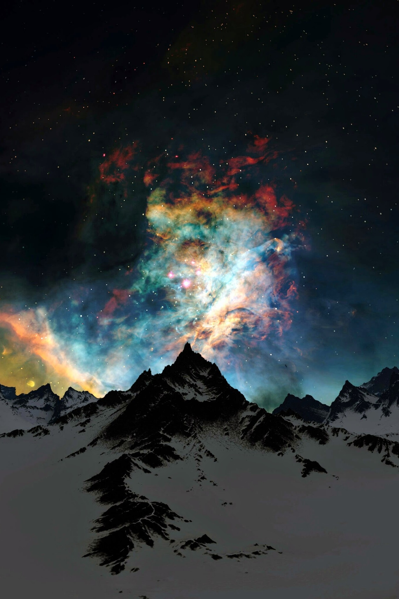 milky way mountain snow sky night