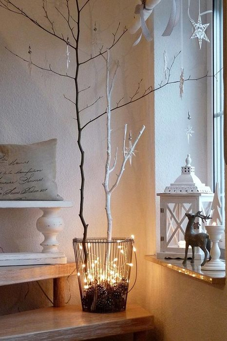 room design christmas bald tree lights decorating ideas