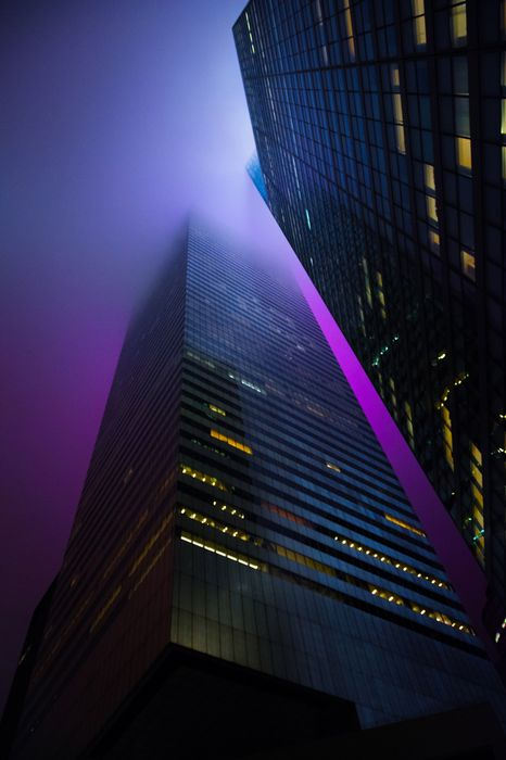violet lights city skyscraper urban building cityscape tower skyline sky downtown