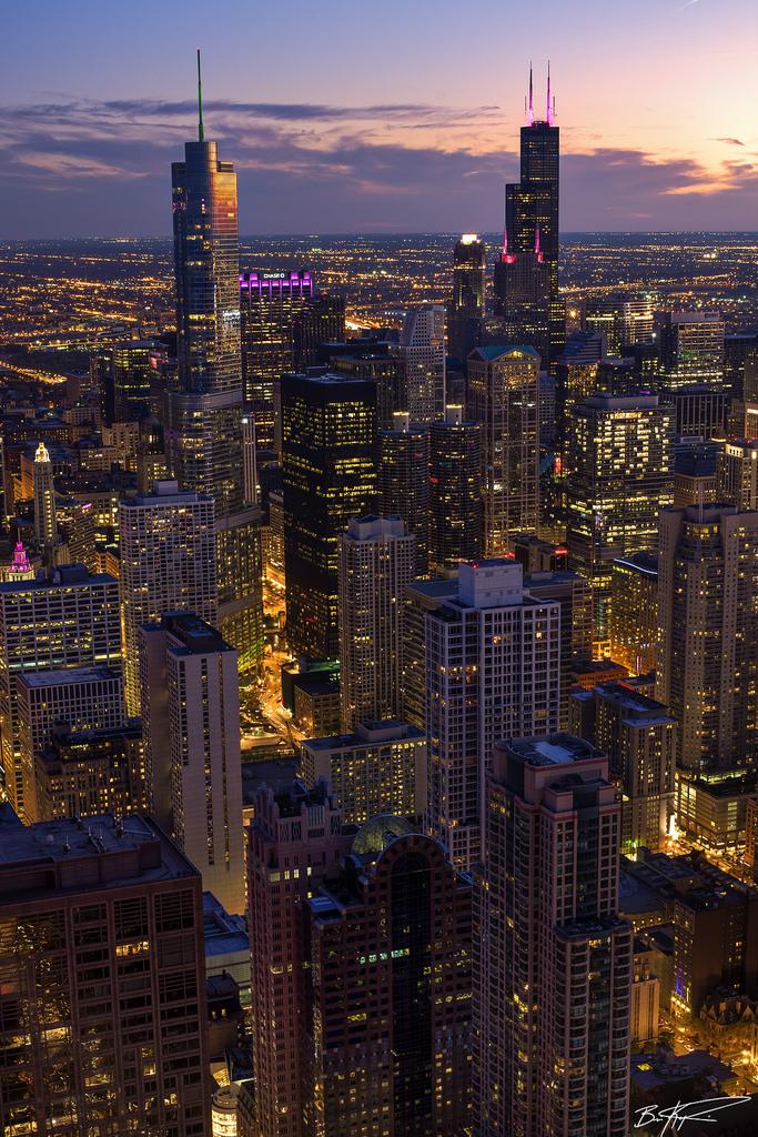chicago night lights sunset