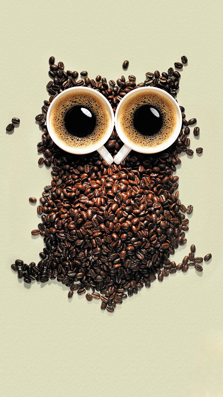 coffee owl cups grains background