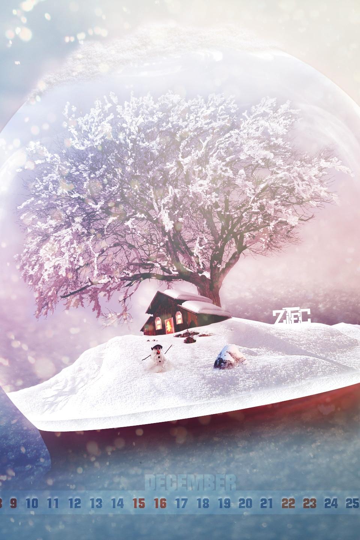 newyear merry christmas house tree snow