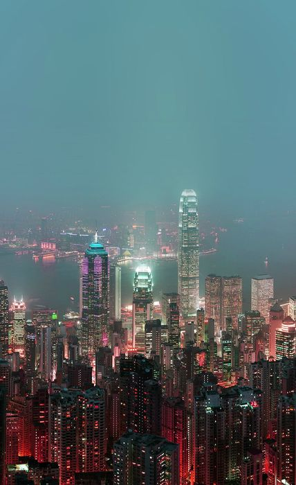 city hongkong skyscrapers skyline night lights