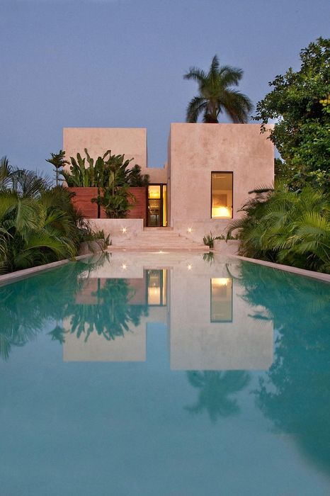 house luxury swimming pool reflection palms