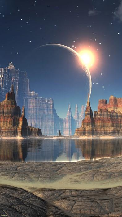 moon sky architecture dawn landscape planet light