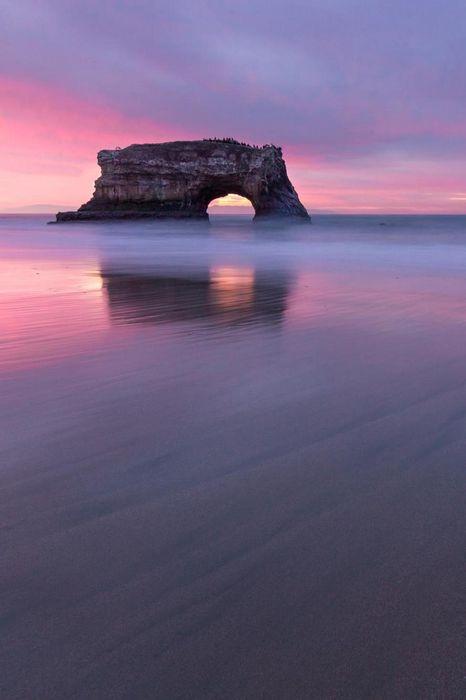 pink violet beach stone ocean