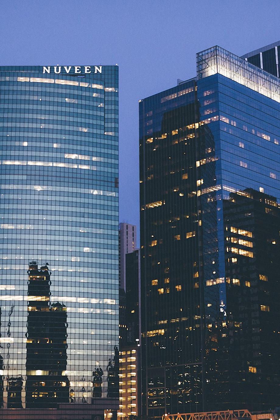 skyscrapers city hotel reflection lights night