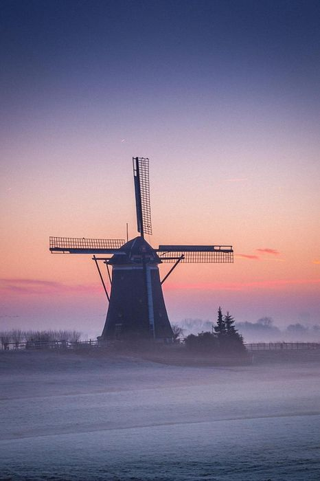 mill sunset fog pink sky wallpaper