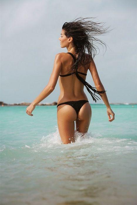 summer girl black bikini ocean