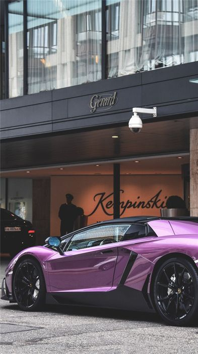 violet lamborghini aventador street