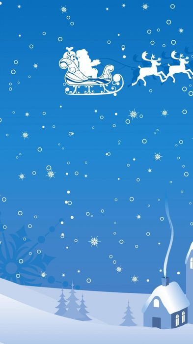 blue and white christmas santa reindeer iphone6 1080x1920