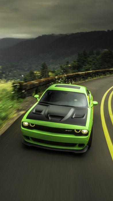 dodge challenger hellcat green road 1080x1920