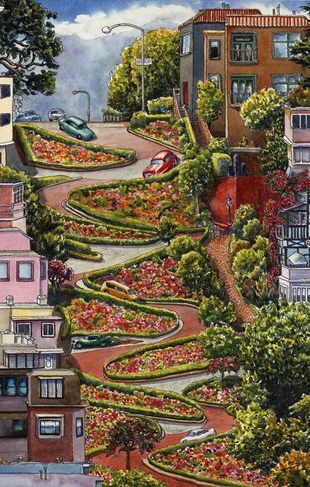 lombard street san francisco california art retina