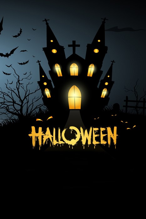 moon halloween silhouette lantern celebration house dark cemetery gold black