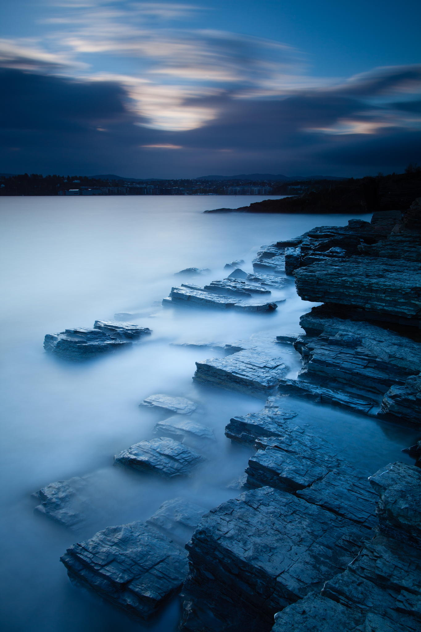 blue stones fog water