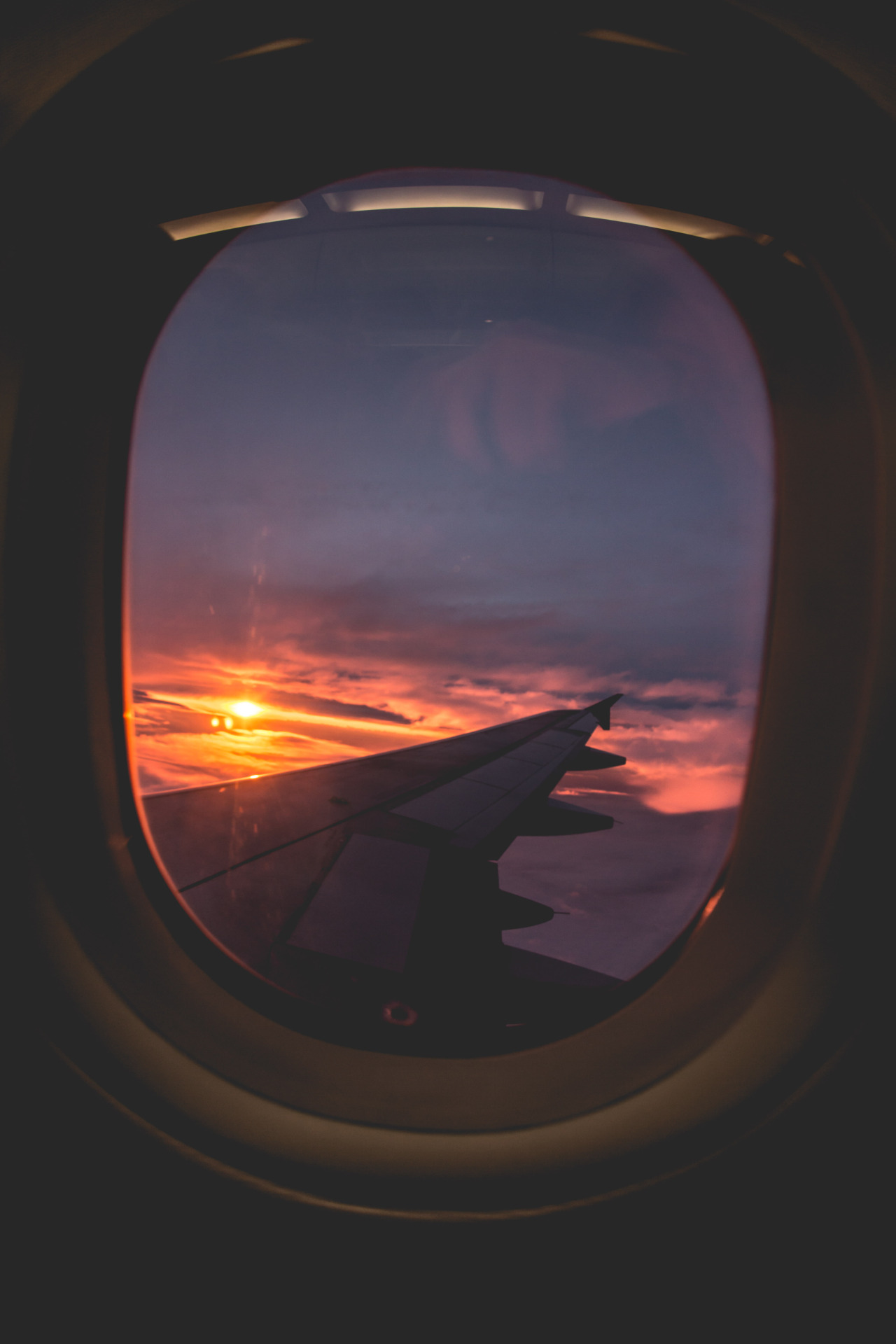 Plane Window View Violet Sunset 1280x1920
