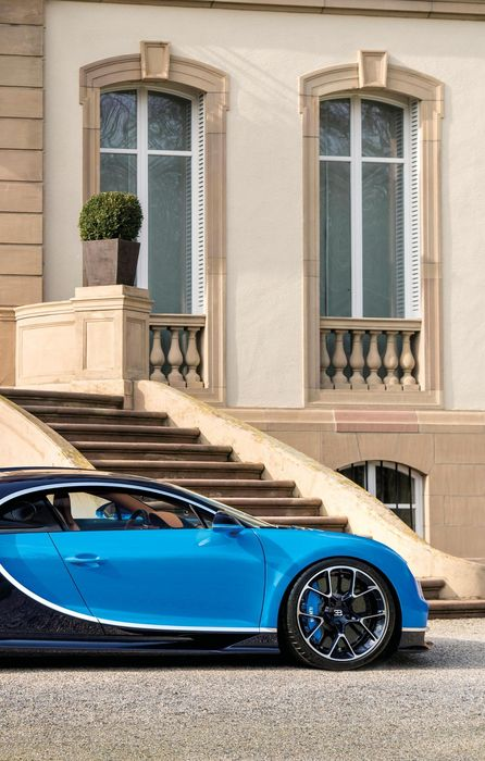 bugatti chiron building sportcar blue stairs iphone retina