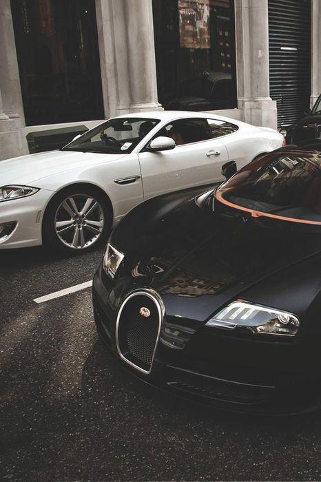 jaguar bugatti vayron black street sportcars