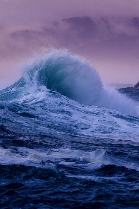 ocean wave violet sky wallpaper