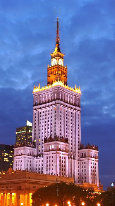 warsaw palace of culture and science center lights