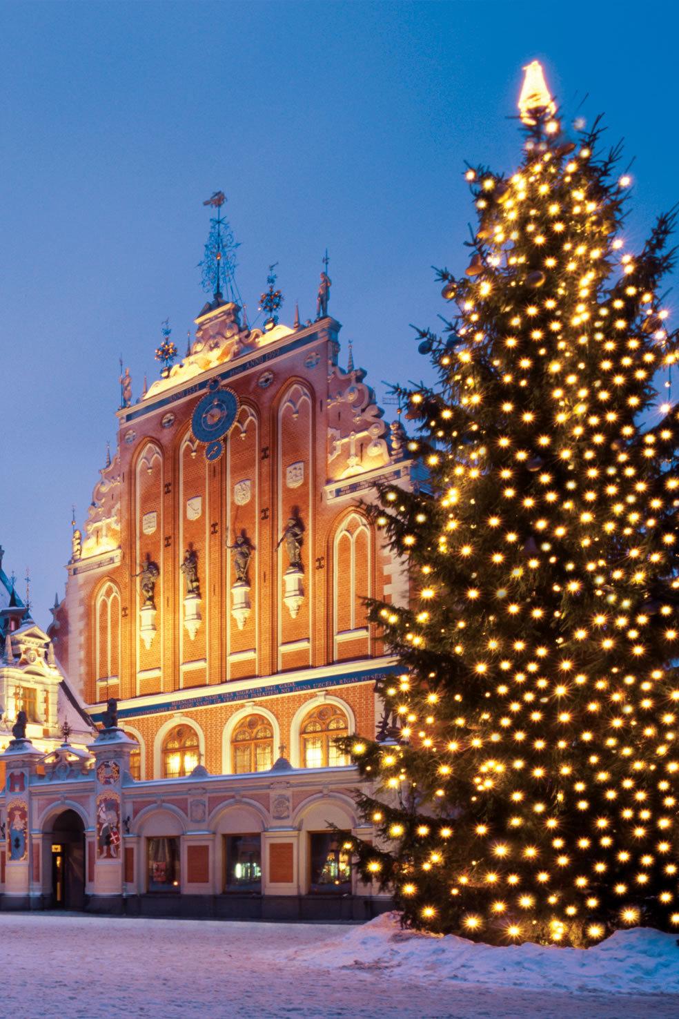 christmas riga city christmastree lights