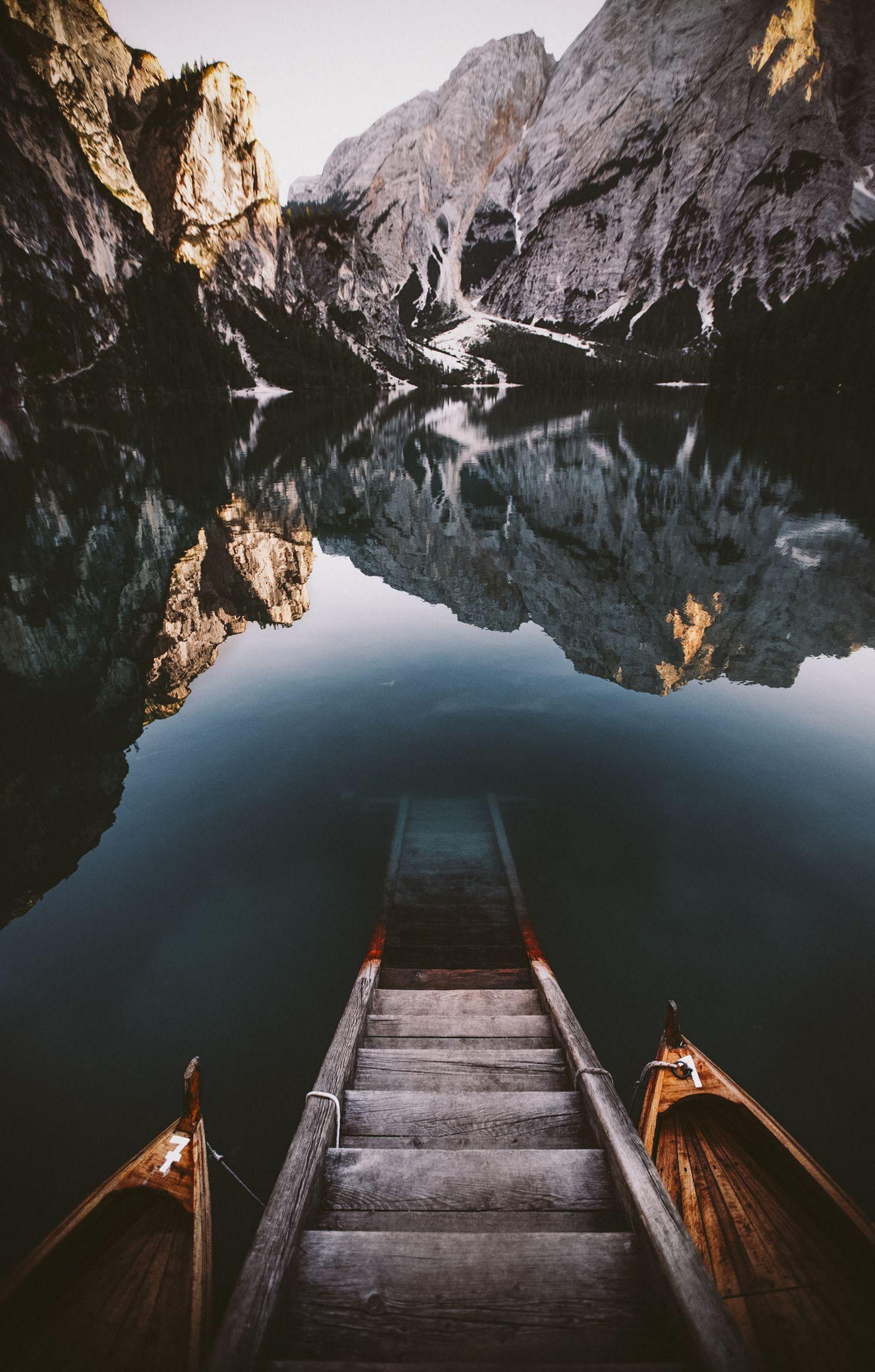 mountain lake stairs wood reflection retina