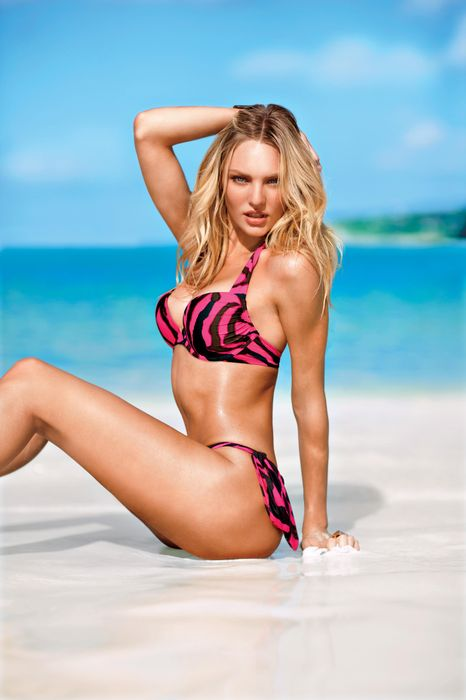 candice swanepoel pink swimsuit beach