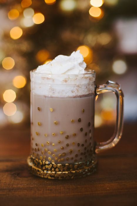 coffee glass lights cream