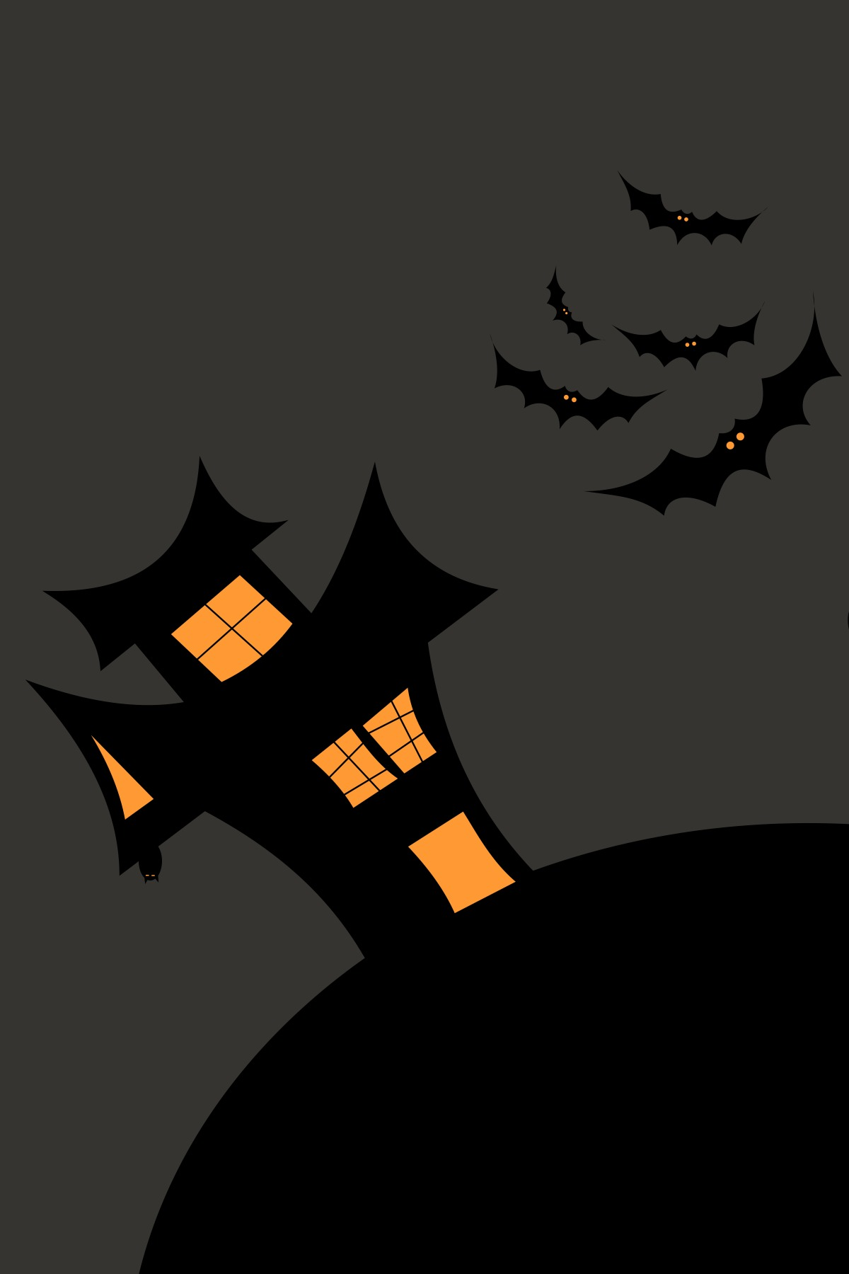 halloween silhouette moon house bat scary lantern