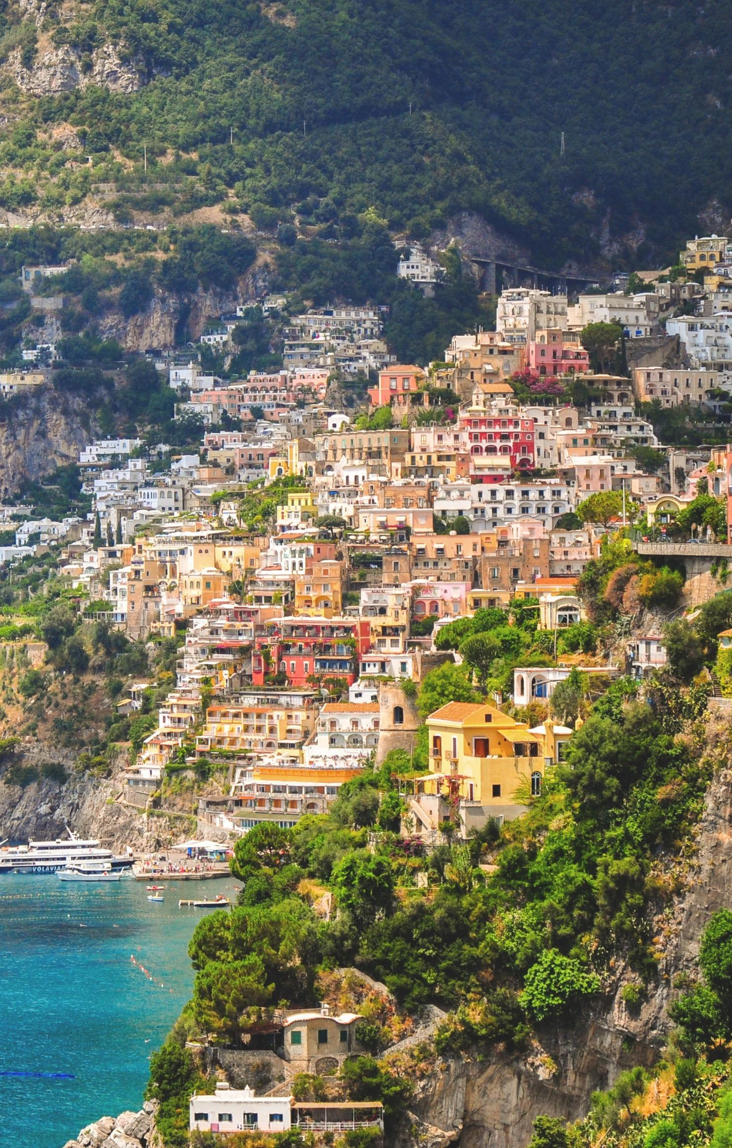italy positano village houses colorful ships retina