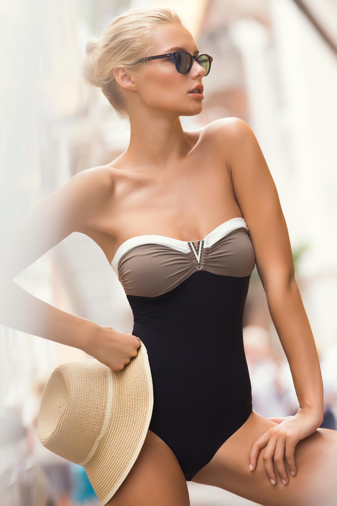 girl pretty black swimsuit hat glasses