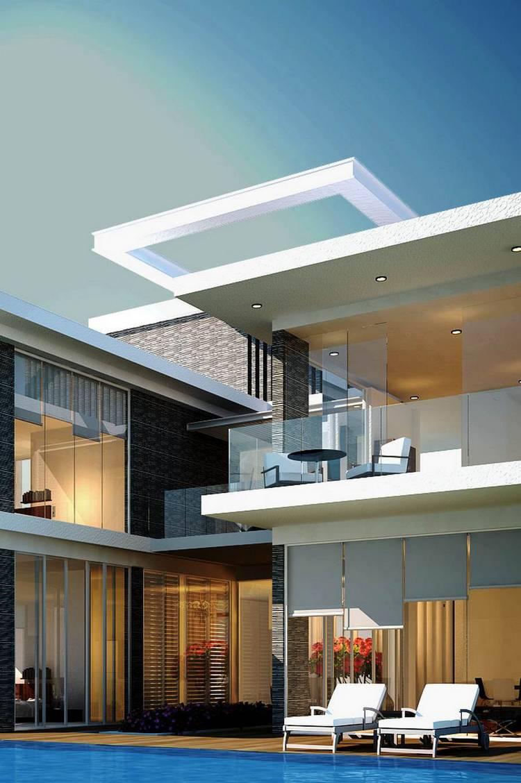 house luxury white glass swimmingpool design