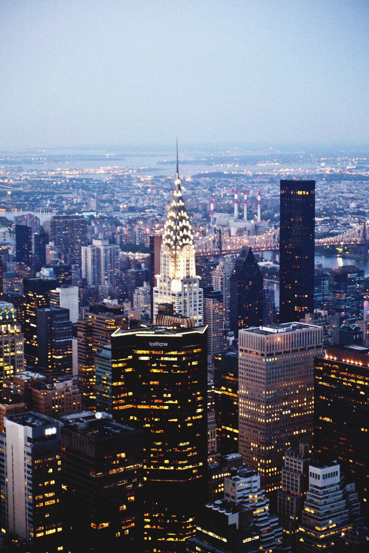 newyork lights evening skyscraper 1280x1920