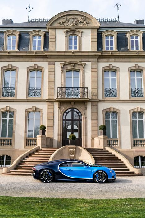 bugatti chiron blue luxury house stairs