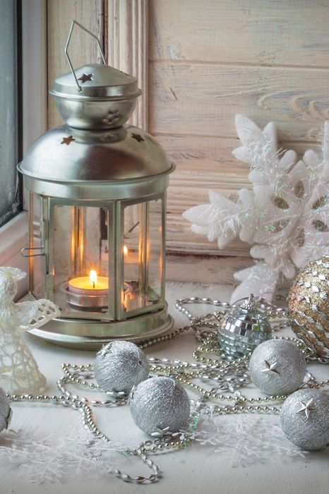 candle silver balls winter snow merry christmas 1280x1920