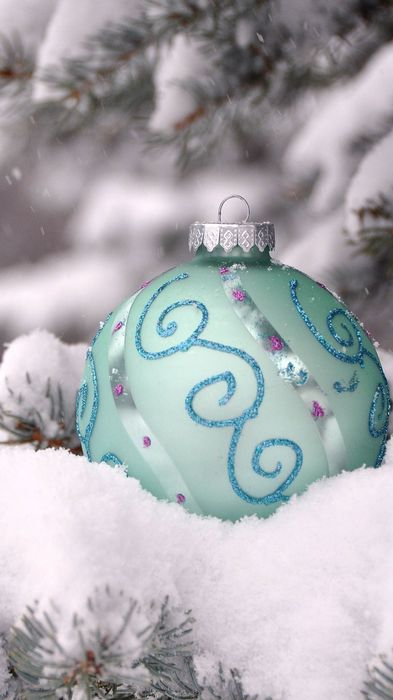 christmas ball snow cyan
