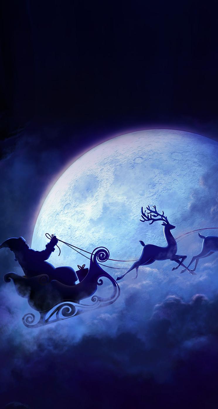 santa claus drive reindeer iphone wallpaper