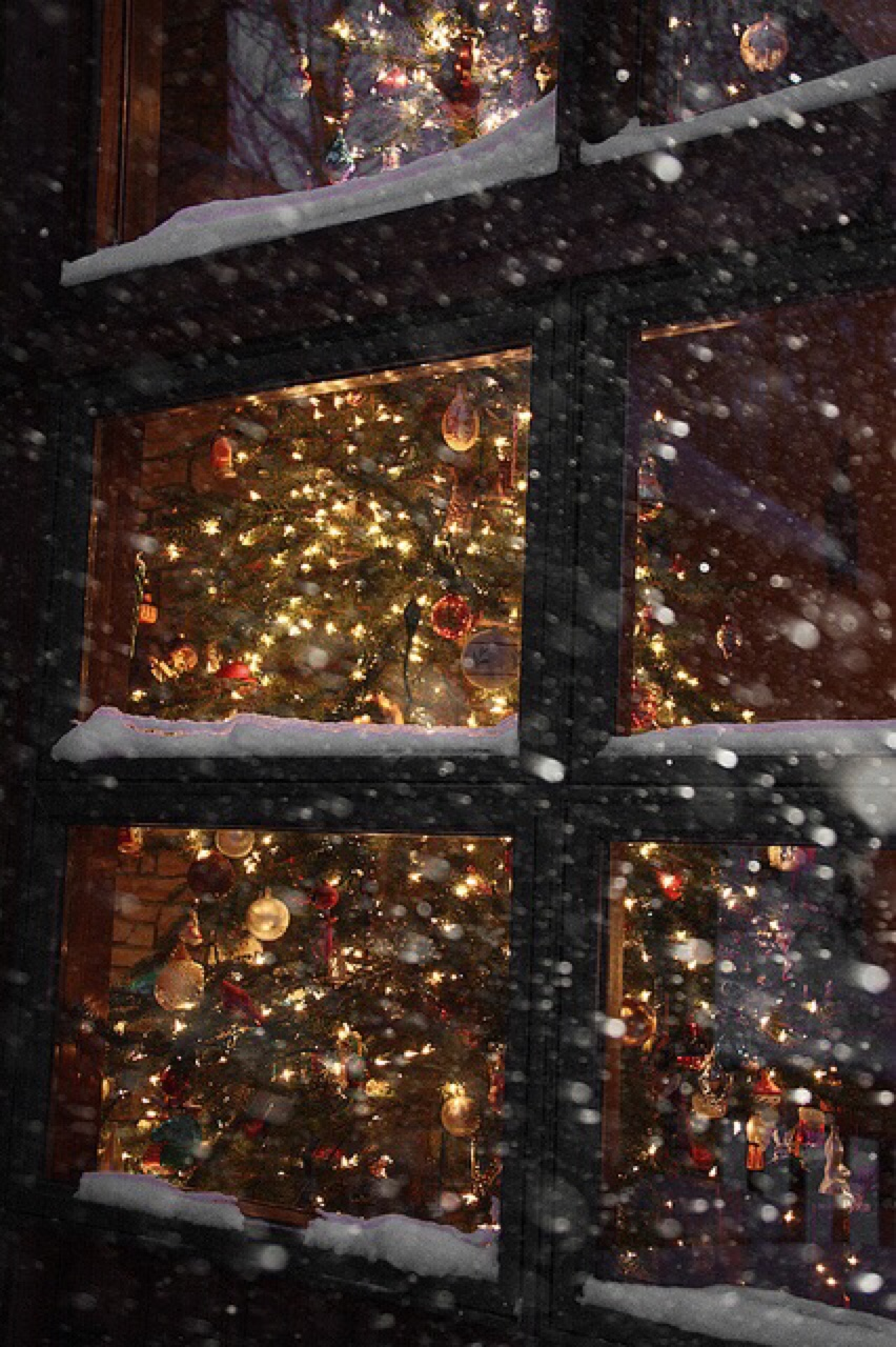christmas window light snowfall