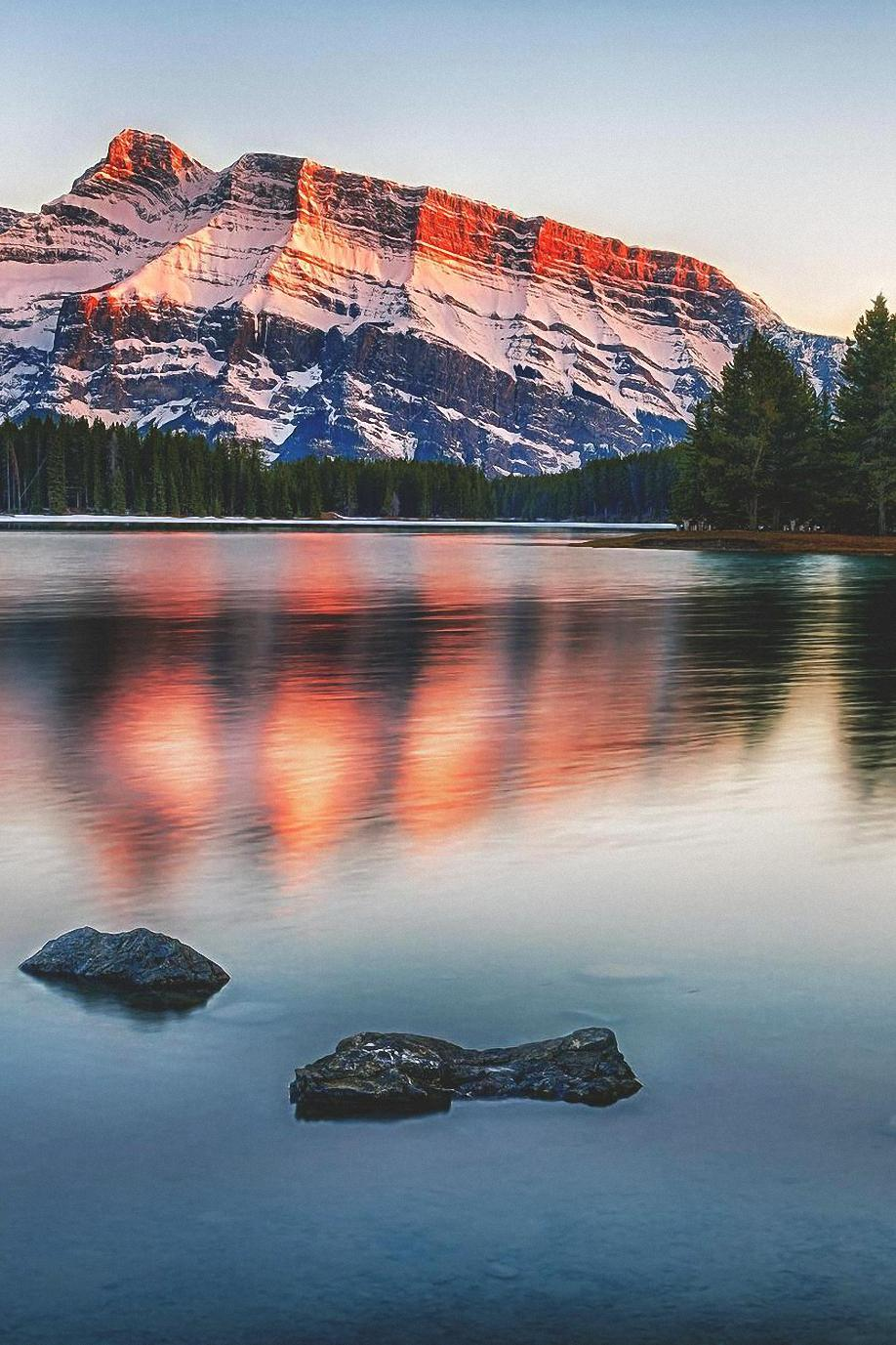 Must see Wallpaper Mobile Landscape - mountain-lake-sunset-snow-forest-wallpaper  Trends_77688.jpg