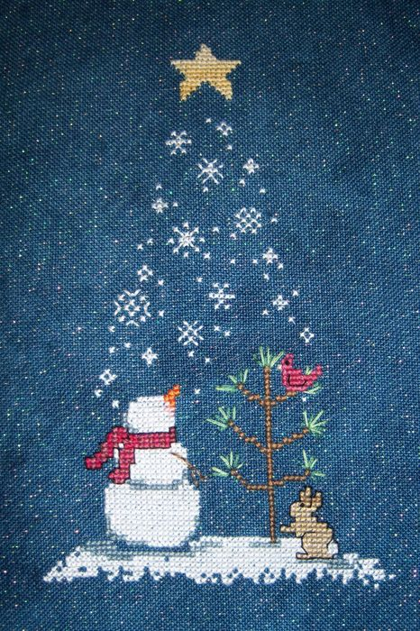snowman christmastree hare snow