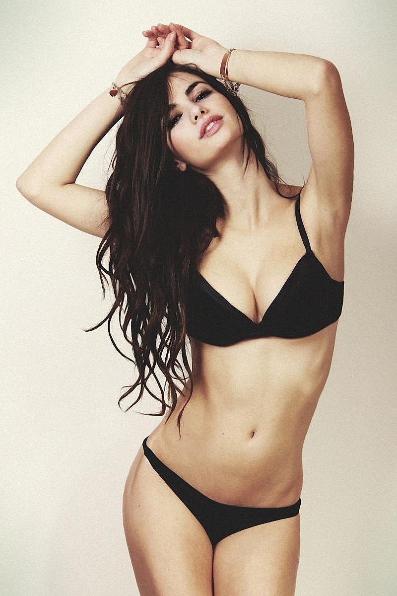 brunette beauty girl model in black