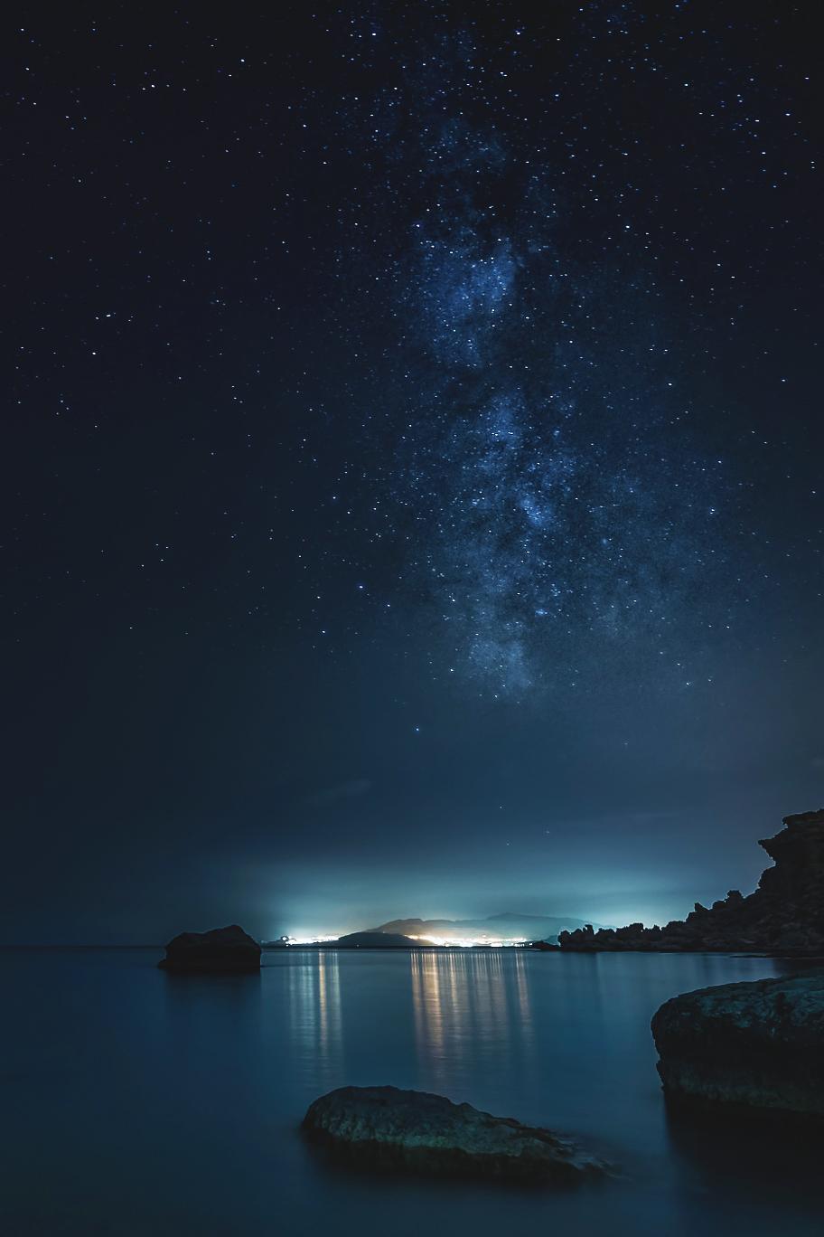 night stars lake stone milkyway