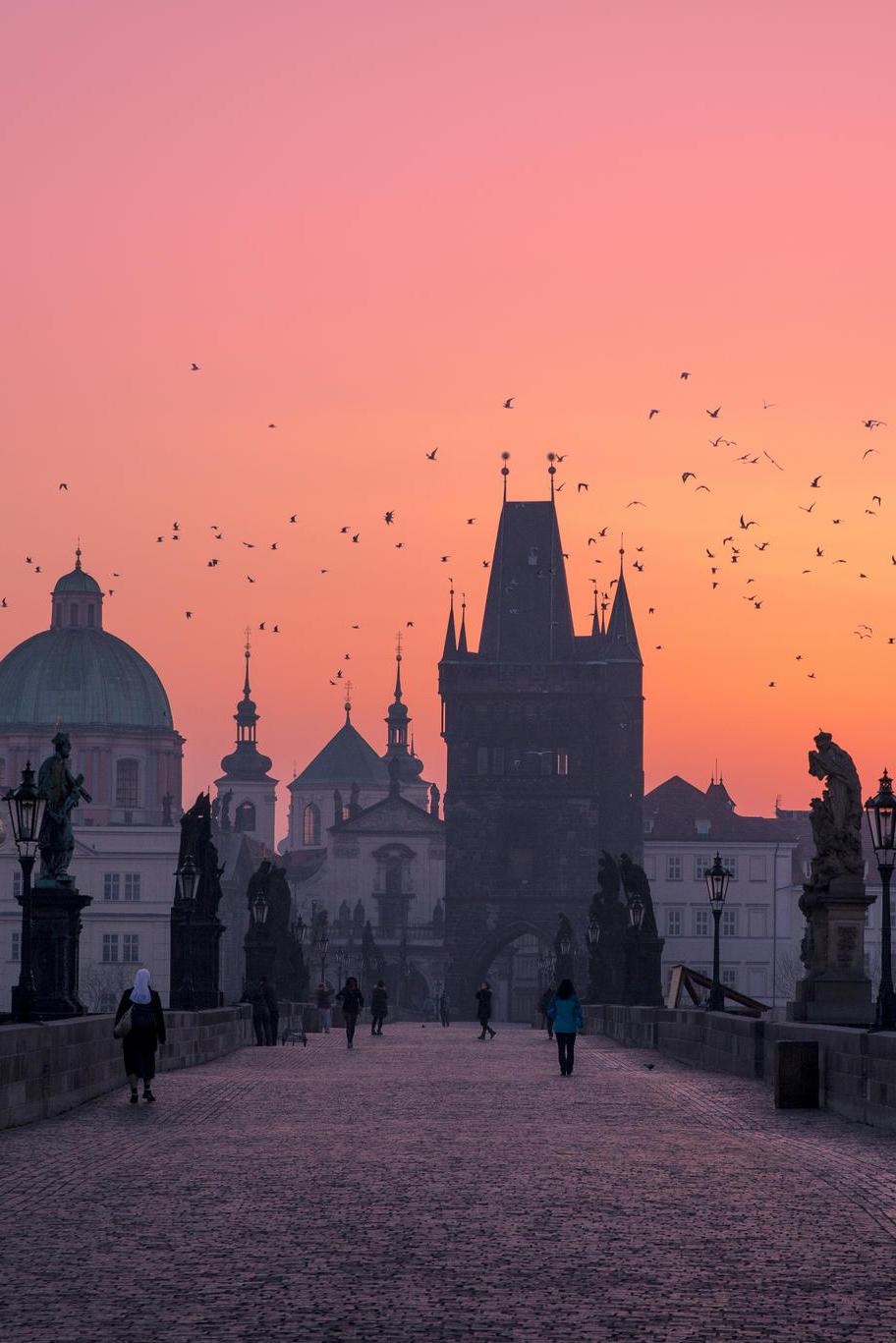 prague charles bridge architecture tower castle europe city tourism