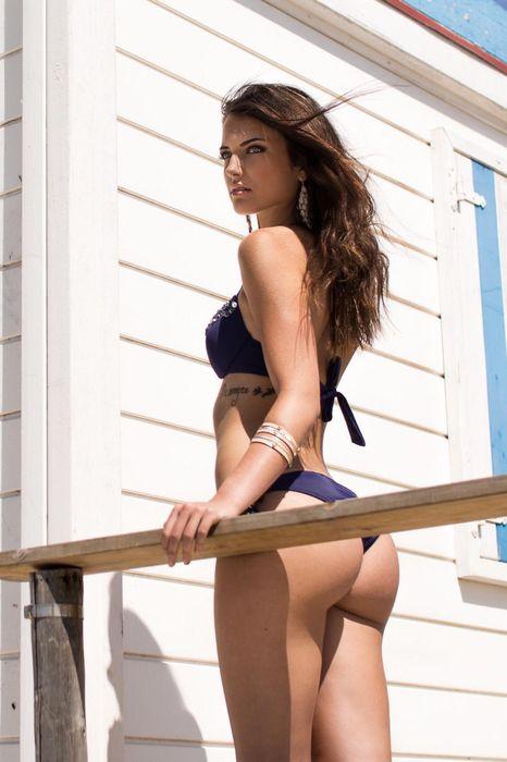 amazing girl violet swimsuit summer attractive retina