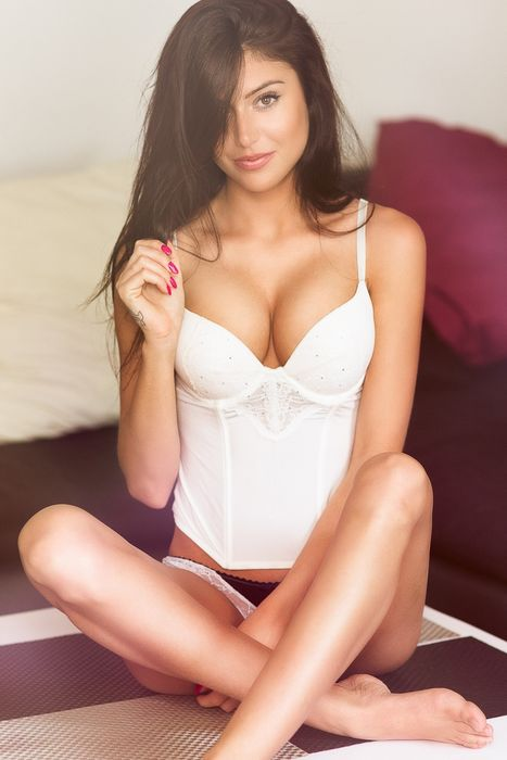 beauitiful girl white lingerie smile