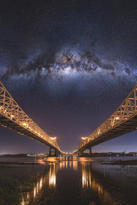 milkyway two bridges lights river sky night
