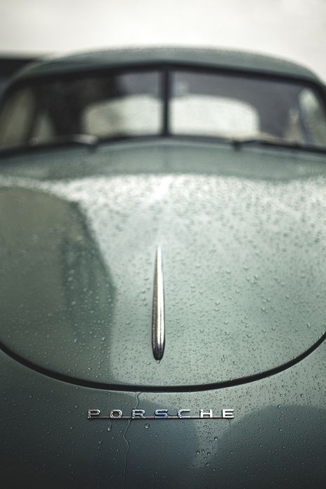 porsche car macro view rain drops