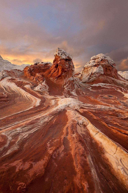 stones orange rock landscape clouds